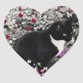Freckles in Flowers II - Tuxedo Kitty Cat Heart Sticker