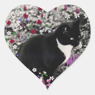 Freckles in Flowers II - Tuxedo Kitty Cat Heart Sticker