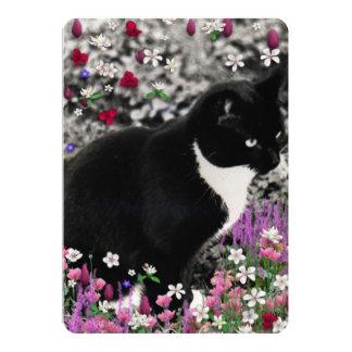 Freckles in Flowers II, Tuxedo Kitty Cat 5x7 Paper Invitation Card