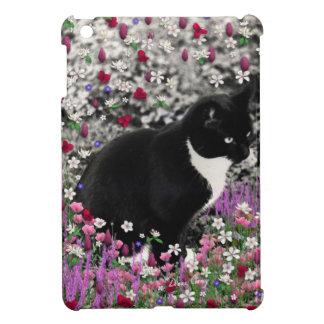 Freckles in Flowers II - Tuxedo Kitty Cat iPad Mini Covers