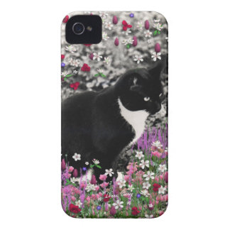 Freckles in Flowers II - Tuxedo Kitty Cat iPhone 4 Cover