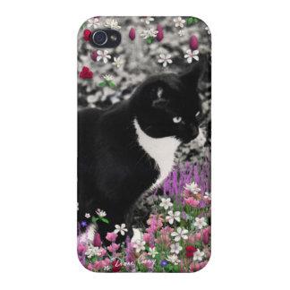 Freckles in Flowers II - Tuxedo Kitty Cat iPhone 4 Case