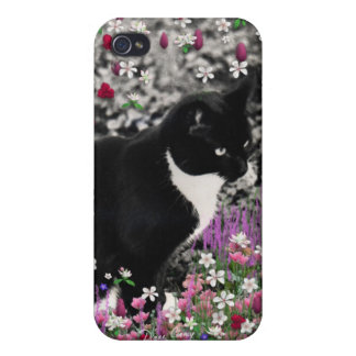 Freckles in Flowers II - Tuxedo Kitty Cat Cover For iPhone 4