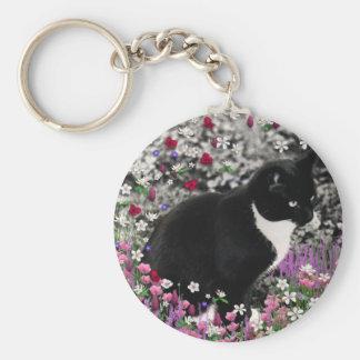 Freckles in Flowers II - Tuxedo Kitty Cat Keychain