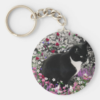 Freckles in Flowers II - Tuxedo Kitty Cat Keychains