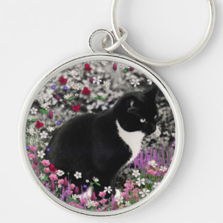 Freckles in Flowers II - Tuxedo Kitty Cat Key Chains