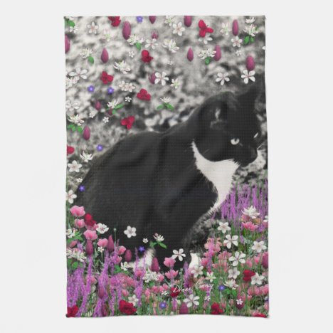 Freckles in Flowers II - Tuxedo Kitty Cat Kitchen Towel