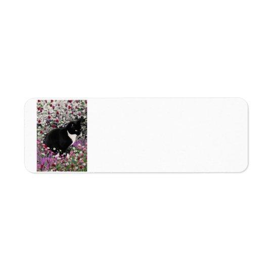 Freckles in Flowers II - Tuxedo Kitty Cat Label