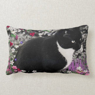 Freckles in Flowers II, Tuxedo Kitty Cat Lumbar Pillow