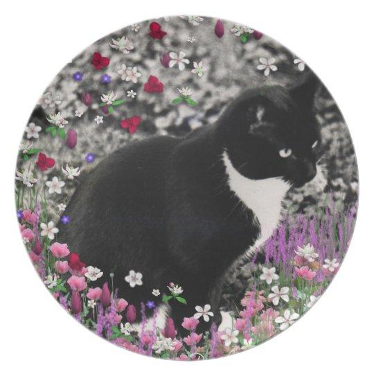 Freckles in Flowers II - Tuxedo Kitty Cat Melamine Plate