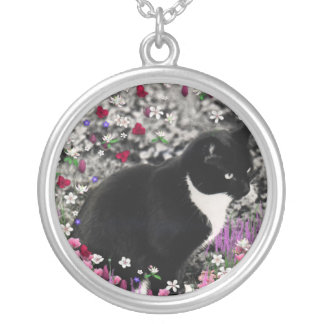 Freckles in Flowers II - Tuxedo Kitty Cat Personalized Necklace