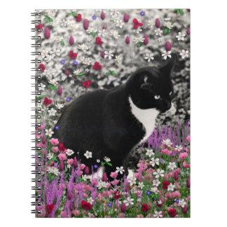 Freckles in Flowers II - Tuxedo Kitty Cat Notebook