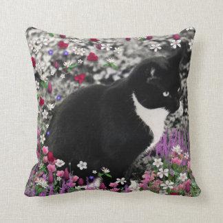 Freckles in Flowers II - Tuxedo Kitty Cat Pillow