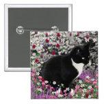 Freckles in Flowers II - Tuxedo Kitty Cat Pinback Button