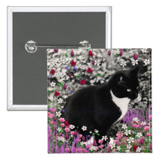 Freckles in Flowers II - Tuxedo Kitty Cat Pinback Button