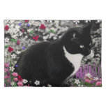Freckles in Flowers II - Tuxedo Kitty Cat Cloth Placemat