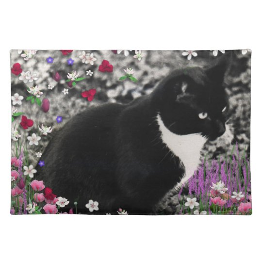 Freckles in Flowers II - Tuxedo Kitty Cat Placemat