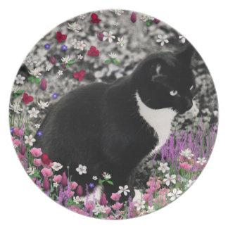 Freckles in Flowers II - Tuxedo Kitty Cat Dinner Plate
