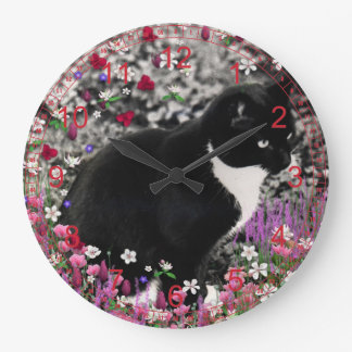 Freckles in Flowers II - Tuxedo Kitty Cat Red Large Clock