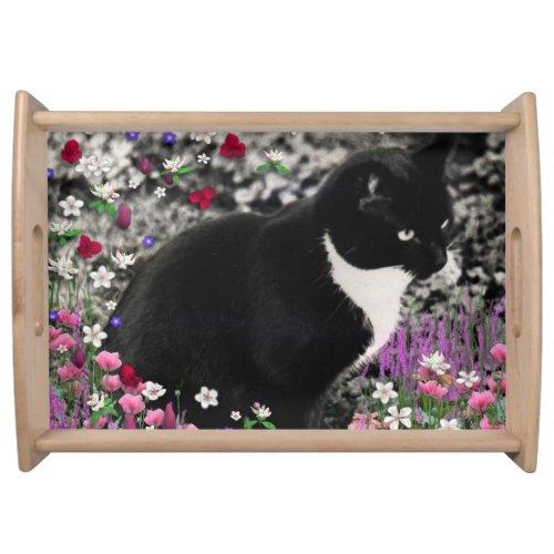 Freckles in Flowers II, Tuxedo Kitty Cat Serving Tray