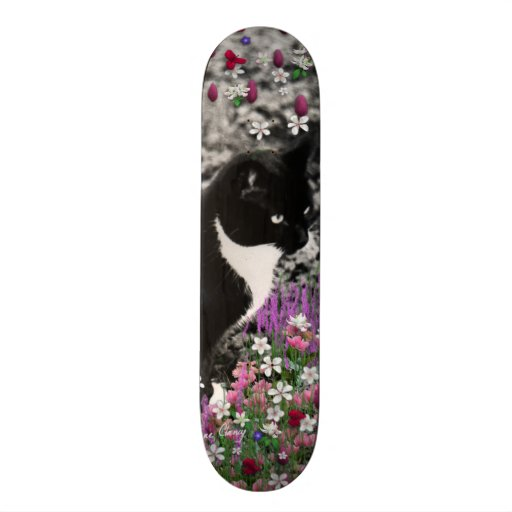 Freckles in Flowers II - Tuxedo Kitty Cat Skate Boards