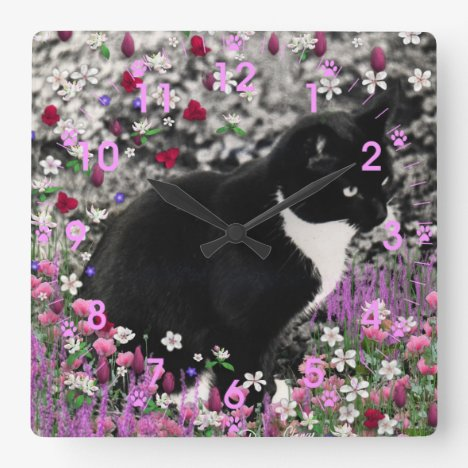 Freckles in Flowers II - Tuxedo Kitty Cat Square Wall Clock