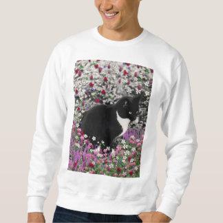 Freckles in Flowers II - Tuxedo Kitty Cat Sweatshirt
