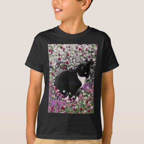 Freckles in Flowers II - Tuxedo Kitty Cat T-Shirt
