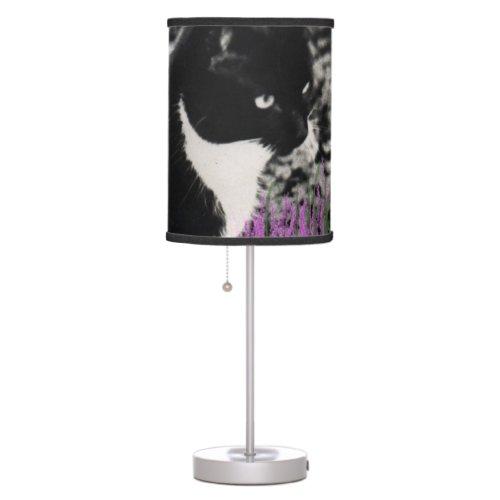 Freckles in Flowers II, Tuxedo Kitty Cat Table Lamp