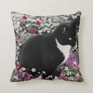 Freckles in Flowers II - Tuxedo Kitty Cat Throw Pillow