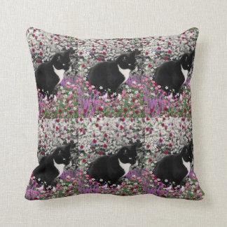 Freckles in Flowers II - Tuxedo Kitty Cat Throw Pillow