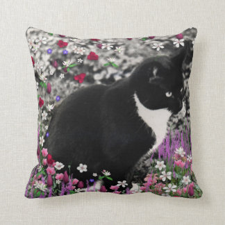 Freckles in Flowers II, Tuxedo Kitty Cat Throw Pillow