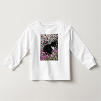 Freckles in Flowers II - Tuxedo Kitty Cat Toddler T-shirt