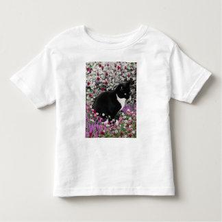 Freckles in Flowers II - Tuxedo Kitty Cat Toddler T-shirt