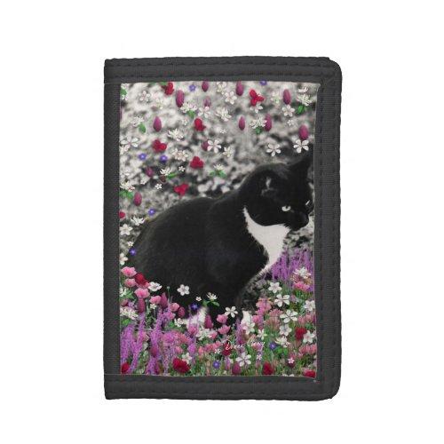 Freckles in Flowers II - Tuxedo Kitty Cat Trifold Wallet