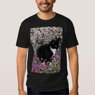 Freckles in Flowers II - Tuxedo Kitty Cat Tshirt