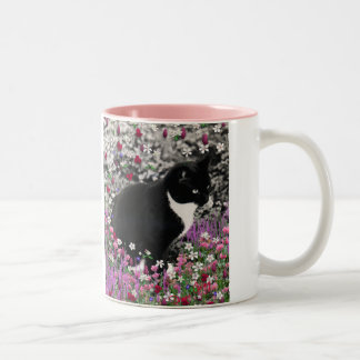 Freckles in Flowers II - Tuxedo Kitty Cat Two-Tone Coffee Mug