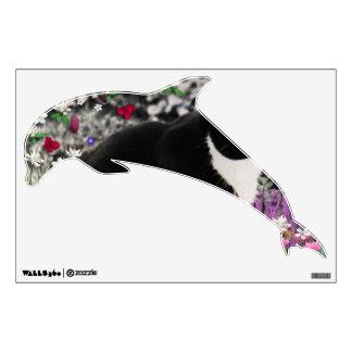 Freckles in Flowers II, Tuxedo Kitty Cat Wall Sticker