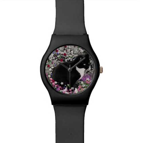 Freckles in Flowers II, Tuxedo Kitty Cat Watch