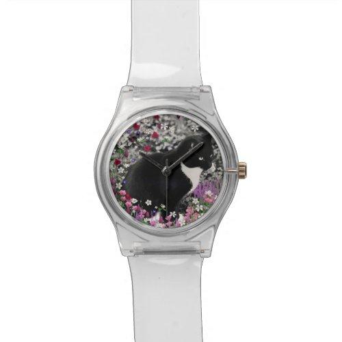 Freckles in Flowers II, Tuxedo Kitty Cat Wrist Watch
