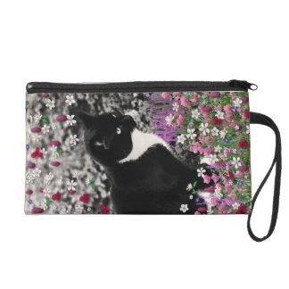 Freckles in Flowers II - Tuxedo Kitty Cat Wristlet