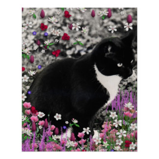 Freckles in Flowers II, Tuxedo Kitty Cat Perfect Poster