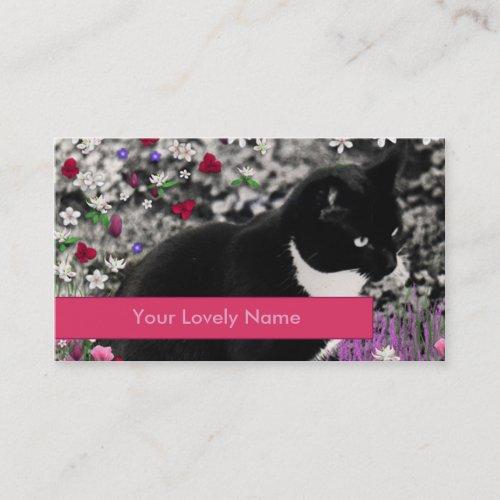 Freckles in Flowers II, Tuxedo Tux Kitty Cat Business Card