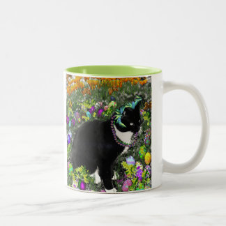 Freckles in the Hunt for Colored Easter Eggs Two-Tone Coffee Mug