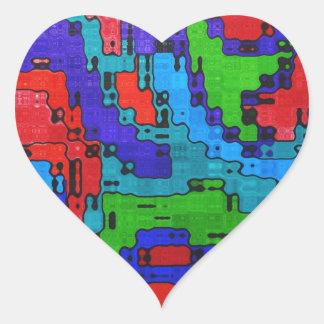 Frecuencia revuelta - extracto fresco loco pegatina en forma de corazón