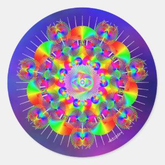Frecuencias del arco iris pegatina redonda