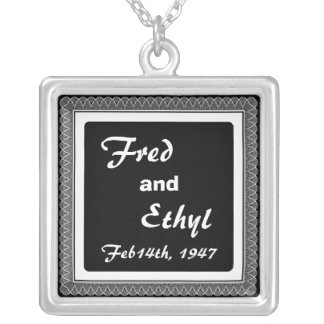 Fred and Ethyl Square Pendant Necklace