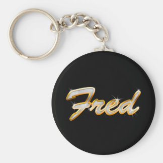 Fred Bling Basic Round Button Keychain