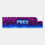 Fred blue fire and flames bumper sticker design.