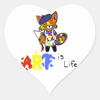 Fred el artista Fox Pegatina En Forma De Corazón